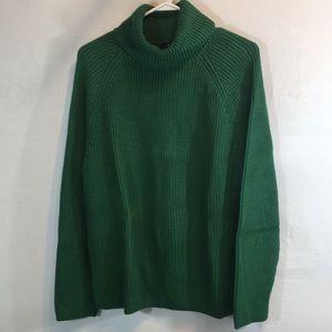 Lands End Large Emerald Green Turtleneck Sweater